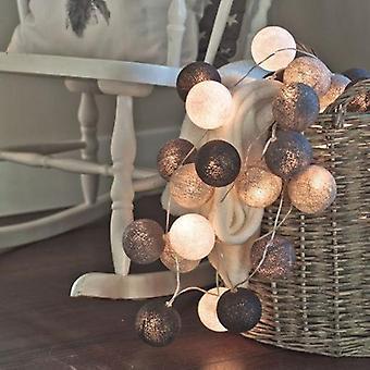 Led Cotton Ball Garland String Lights, Outdoor Decoration Fairy Light