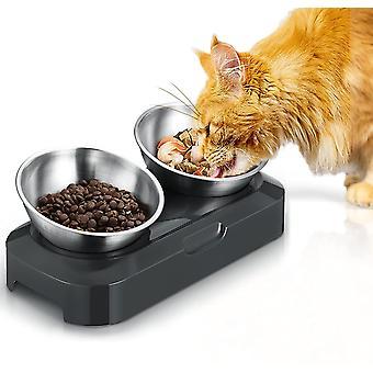 Futternapf Hund Katze Rostfreier Stahl, Rutschfeste Silikonbasis mit 0° und 15° Vorschubwinkel