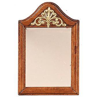 κουκλών σπίτι καρυδιά ξύλινο πλαισιωμένο καθρέφτη με χρυσό decor μικροσκοπικό αξεσουάρ 1:12