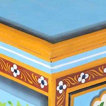 vidaXL Sideboard Handbemalt Mehrfarbig 110x30x76 cm Mango Massivholz
