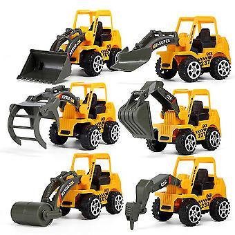 Nouveau 6pcs / lot Mini Engineering Car Excavator Bulldozer Toy Children's Car Modèle ES12893