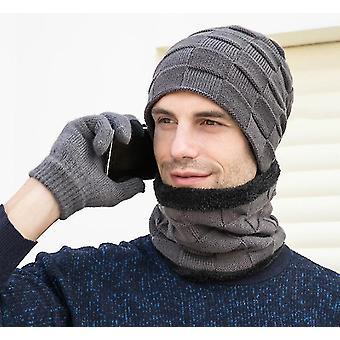 Yhden koon harmaa gemdeck 3 kpl neulottua hattukarppia ja hansikassarjaa x6709