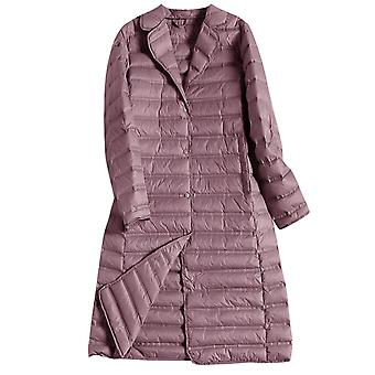 Women's Down Jackets Solid Color Light Weight Lapel Outwear