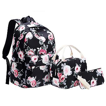 3 In 1 Floral Print Backpack With Lunch Box And Pencil Case For School Girls