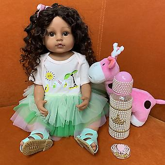 55Cm original full body silicone flexible real soft touch reborn baby toddler pincess curly hair fashion girl doll xmas gift