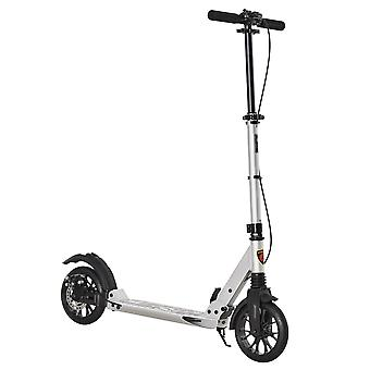 HOMCOM Adult Teens Kick Scooter Foldable Height Adjustable Aluminum Ride On Toy for 14+ with Rear Wheel & Hand Brake, Shock Mitigation System - Silver