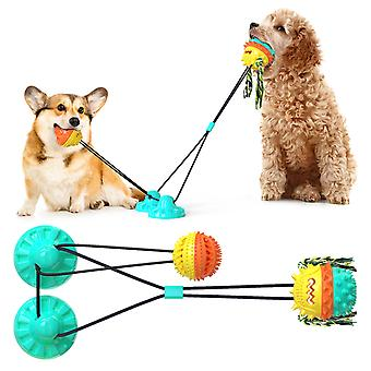 Dog Dental Chew Toys  Pets Teeth Cleaning Toy Dogs Rope Ball Pull Toy With Suction Cup