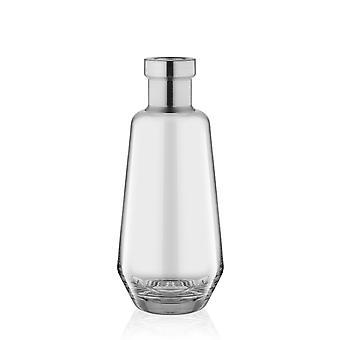 VZO0012 Botella transparente de vidrio Alto jarrón de fondo redondeado con punta plateada | 25cm