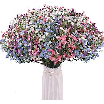 Artificial Gypsophila Bouquets 12 Pcs Fake Real Touch Flowers For Diy Home Party Wedding Decoration (4 Colors)