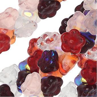 الخرز الزجاجي التشيكي، زهرة 7mm، 100 قطعة، الفراولة حقول ميكس