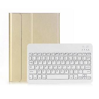 Qwert iPad 10.2 2019 Wireless BT3.0 Keyboard Case iPad Protective Case Keyboard (goldï¼white)