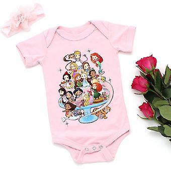 Cute Cartoon Graphic Fashion kortærmet T-shirt og Romper - 2