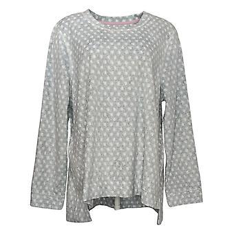 Soft & Cozy Women's Plus Novelty Printed Fleece Pajama Top Gray 662992