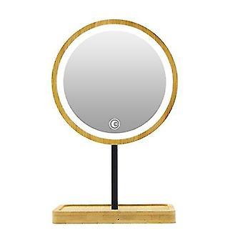 Wooden desktop led makeup mirror usb charging adjustable bright diffused light press screen beauty