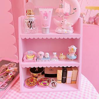Nordic Wooden Storage Rack 3 Floors Pink Shelf Cosmetics Organizer Home Decoration