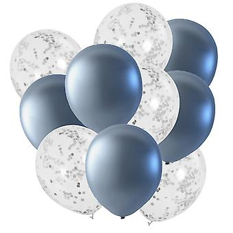Ballonger Mix Silver & Konfetti fyllda ballonger 10-pack