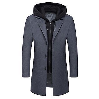 Homemiyn Men's Wool Warm Coat,hooded Solid Color Mid-length Jacket Overcoat