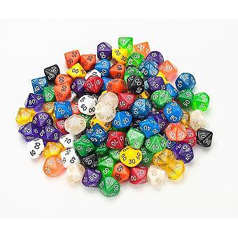Tile games 100+ pack of random d10 00 dice in multiple colors