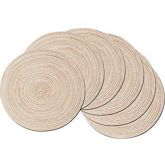6 gewebte runde Tischsets, waschbare Runde Tischsets aus Baumwolle, Home Party Dekoration Tischsets, Durchmesser 38cm, Beige