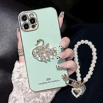 Geschikt voor Iphone13promax mobiele telefoon geval vrouwen siliconen crystal swan parel armband lanyard