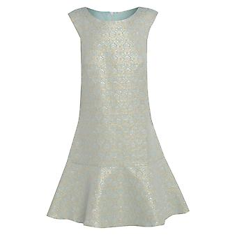 فستان جاكار النعناع مع هيم Peplum المملكة المتحدة حجم 14