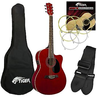 Tiger Electro Acoustic Guitar for Beginners - Red