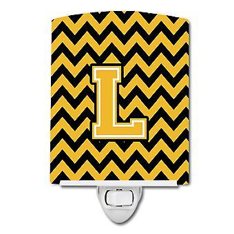 Letter L Chevron Black and Gold Ceramic Night Light