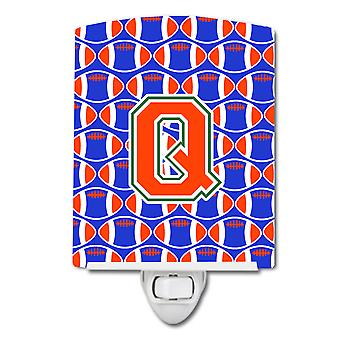 Letter Q Football Green, Blue and Orange Ceramic Night Light
