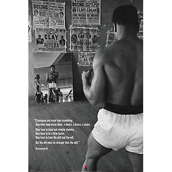 Muhammad Ali In Gym With Mirror Poster Print (24 x 36)