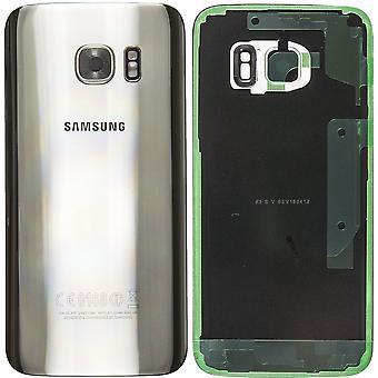 Batterie Samsung Galaxy S7 qualité de la couverture de l'argent d'origine avec l'objectif de la caméra