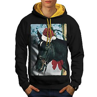 Holiday Art Men Black (Gold Hood)Contrast Hoodie | Wellcoda