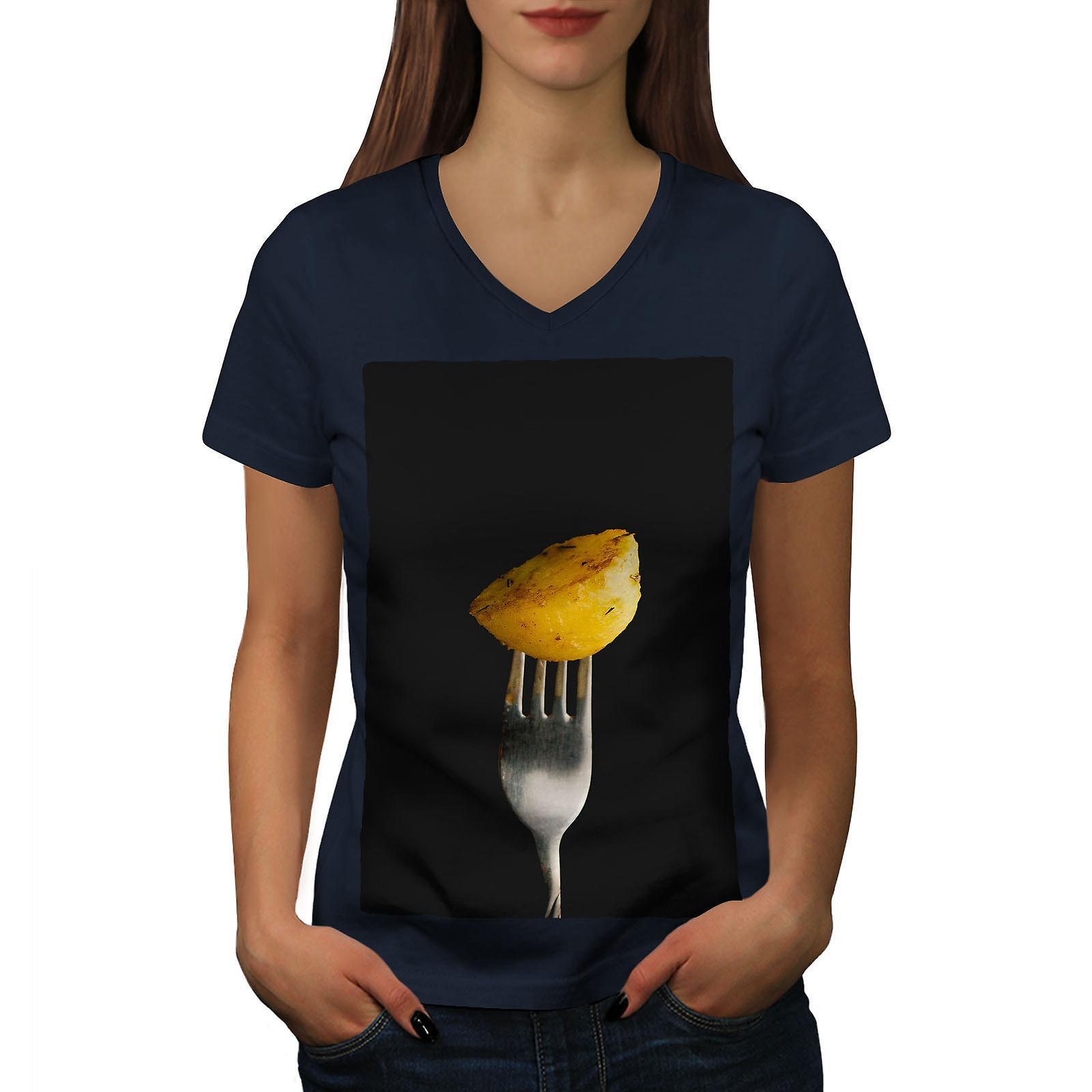 Pomme de terre Photo femmes NavyV-Neck T-shirt | Wellcoda