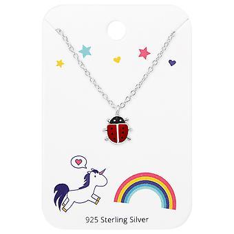 Mariehøne halskæde på enhjørninger og Rainbow Card - 925 Sterling sølv sæt - W35928X