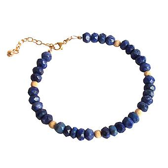 Gemshine - damer - armbånd - forgyldt blå - lapis lazuli - facetteret-