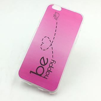 Cas de téléphone portable pour Apple iPhone plus de 6 / 6 s plus couverture affaire sac de protection motif slim silicone TPU be happy rose
