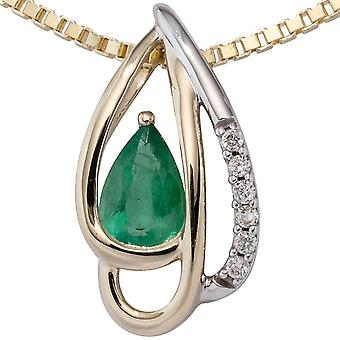 Trailer 585 yellow gold bicolor 6 diamonds brilliant 1 emerald green gold pendant