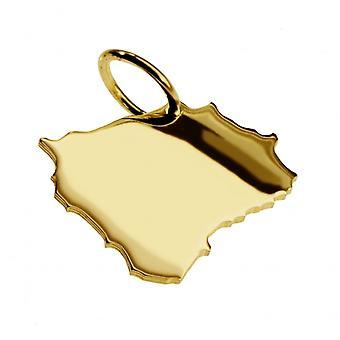 Släpvagn karta hängsmycken i guld gul-guld i form av Böhmen