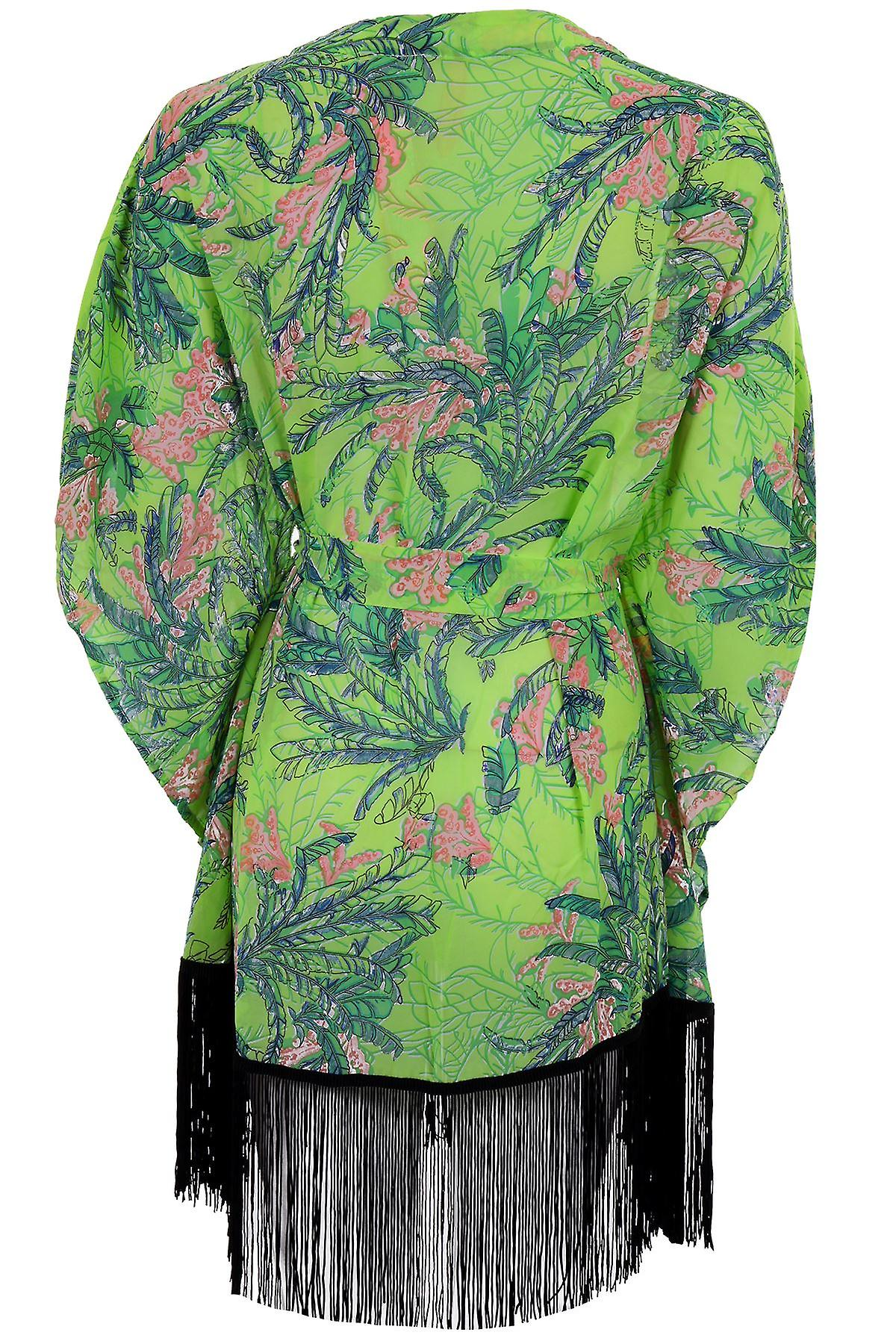 Naisten lyhythihainen Batwing Sifonki kukkakuvio Tasseled naisten kimonon takki