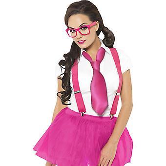 Glam nerd Kit Rosa z okulary szelki i krawat