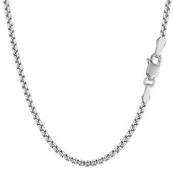 14k White Gold Round Box Chain Necklace, 2.4mm