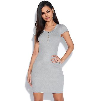 Short Sleeved Ribbed Grey Dress