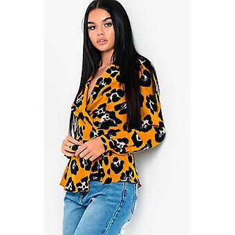 IKRUSH Womens Zeena leopardo impressão Wrap blusa Top