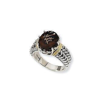 925 Sterling Silver finish With 14k 3.30Smokey Quartz Ring Jewelry Gifts for Women - Ring Size: 6 to 8