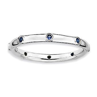 925 הלוח הקדמי של שטרלינג מלוטש רודיום ביטויים הערמה נוצר טבעת ספיר תכשיטים מתנות לנשים-