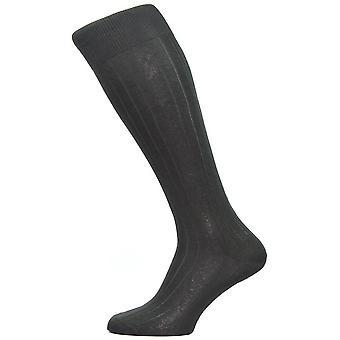 Pantherella Asberley Rippe über das Kalb-Seiden-Socken - schwarz