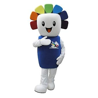 mascot SPOTSOUND snowman white with colored hair