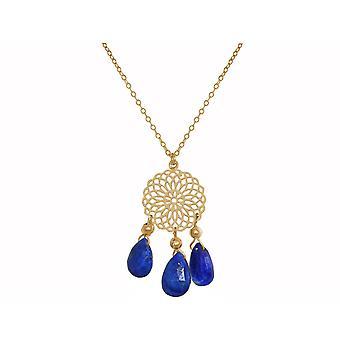 GEMSHINE Halskette Mandala Lapis Lazuli Edelstein Silber,vergoldet oder rose