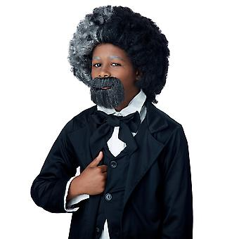 Frederick Douglass Civil War Grey Black Historical Boys Costume Wig & Goatee Set