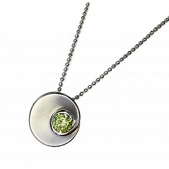 """Cavendish French Silver and Peridot Green CZ Swirl Pendant with 18-20"""" Silver Chain"""