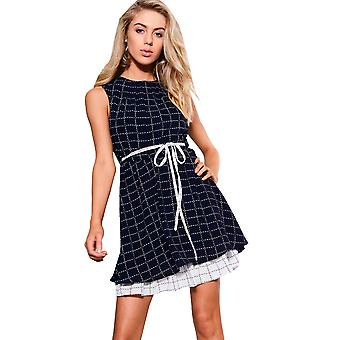 Style London Navy Checked Dress With Tiered Skirt And Tie Belt